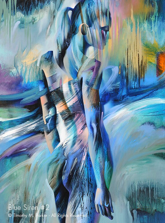 Abstract Nude Art Male Acrylic Figure Study Original