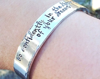 Personalized Graduation Gift, Custom Hand Stamped Cuff Bracelet, Personalized Cuff Bracelet, Quote Jewelry Custom Gift for Her Bracelet