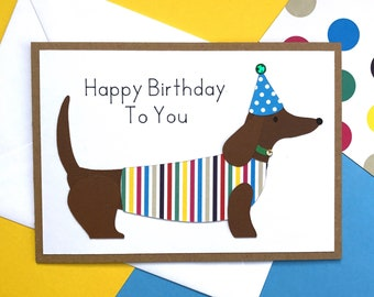 Sausage Dog 3D Birthday Card, dog lover, dogs, pet lover, dog lover gifts, dog mom, dog mom gift, dog mama, dog lover gift, dog mom gifts