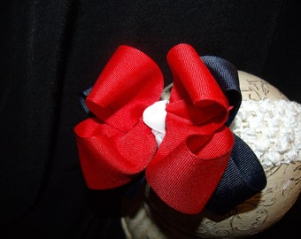 SASSYLILPRINCESSES..Red White and Blue Boutique Bow and Interchangeable Headband