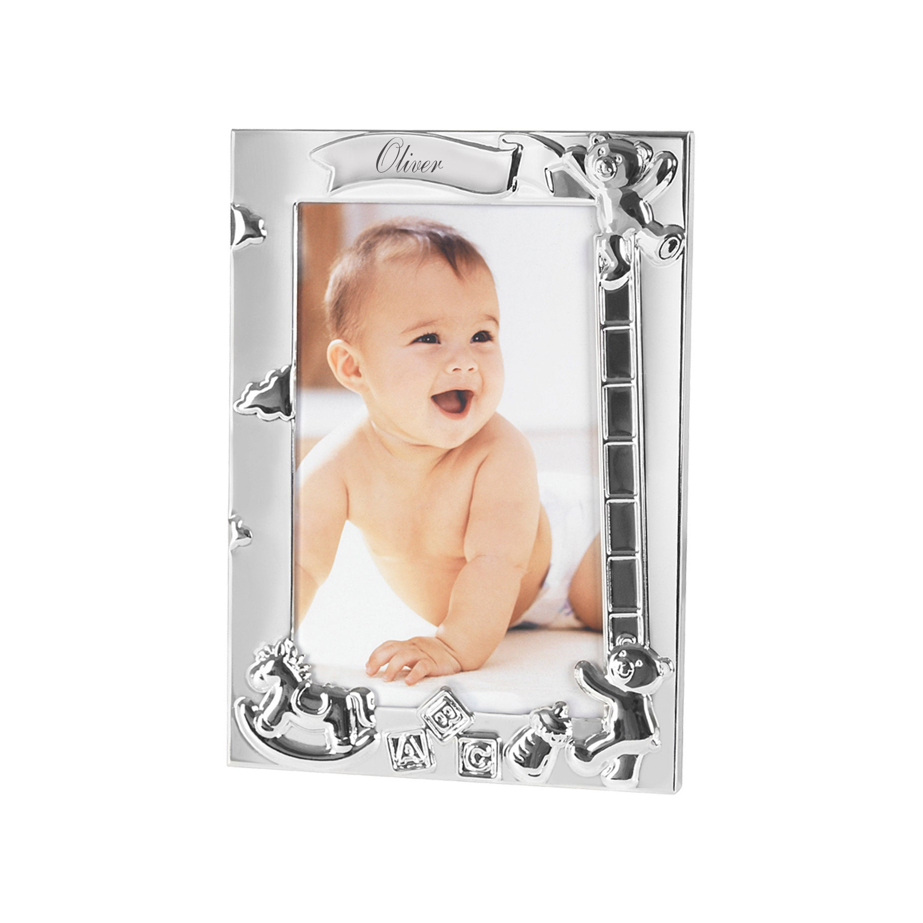 Personalised Silver Plated ABC Baby Photo Frame 18cm x 12.9cm ...