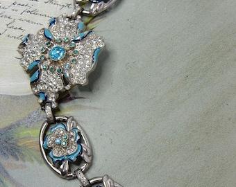 CORO Blue Rhinestones Flower Silver Link Bracelet    HBR21