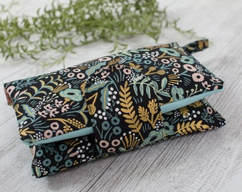 Rifle Paper Co floral nappy wallet, diaper pouch, wet wipes bag, baby shower gift, floral diaper clutch