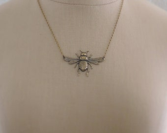 Vintage Necklace - Bee Necklace - Vintage Brass Necklace - Save the Bees - Honey Bee Jewelry - Handmade Necklace