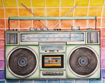Boombox - Boombox Art - 70s, 80s, 90s inspired Art - Watercolor - Music Lover - Vintage Boombox - Cassette Tape - Radio - Stereo - 1980s