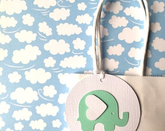 Baby Elephant gift tags. Mint Green & White. First Birthday party favors, baby shower, new baby gifts. Mint green, grey chevron elephant.