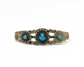 Vintage Navajo Sterling Silver Turquoise Cuff Bracelet, Fred Harvey Era
