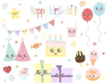 SALE 1 Dollar Deal Kawaii Birthday Clipart  Clip Art Digital Bunting Scrapbook Instant Download Invitation Card Cute PNG