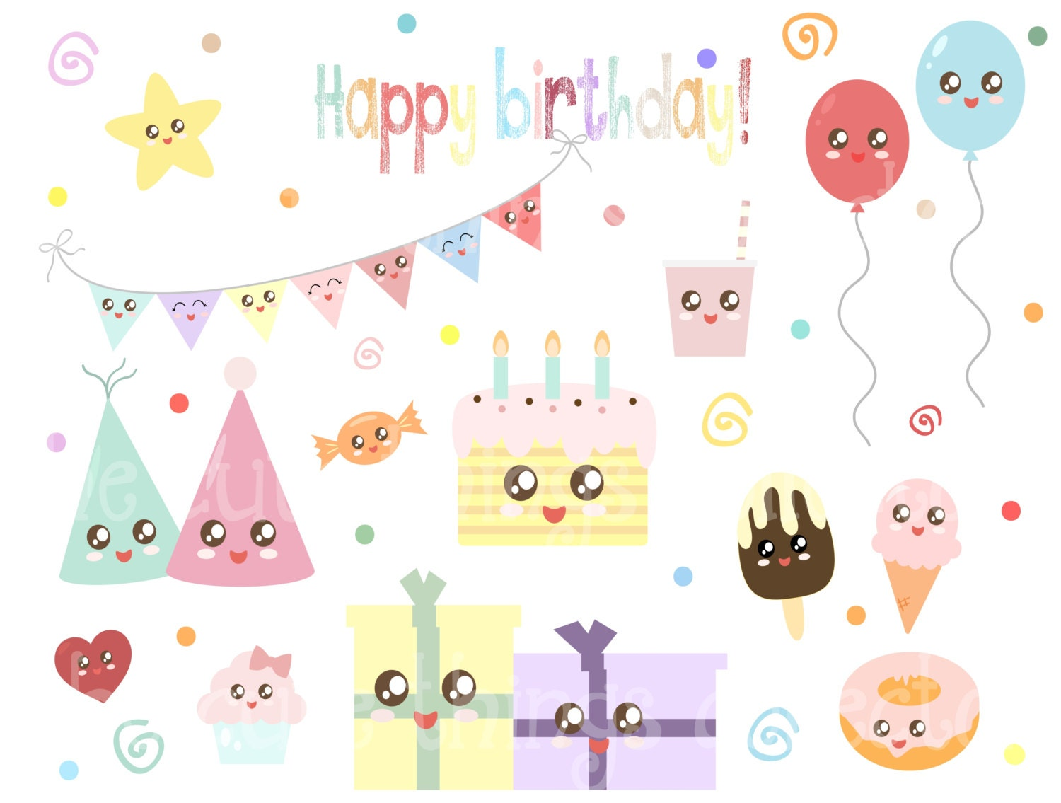 Sale Kawaii Birthday Clipart Clip Art Digital Bunting