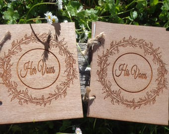 Vow Books Set, His and Hers Books, Rustic Vow Books, Wood Vow Books, Bridal Shower Gift, Country Wedding, Rustic Barn Wedding