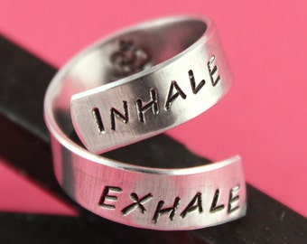 Yoga Ring - Meditation Ring - Meditate Ring - Ohm Ring - Breathe Ring - Wrap Ring - Twist Ring - Adjustable Ring - Silver Ring - Yoga Gift