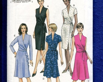 Vogue 7693 Slim or Flared Wrap Dresses Pattern Size 6..8..10
