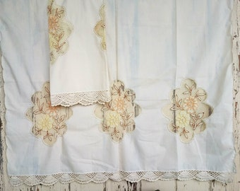 Retro Curtains With Lace Inserts - Vintage Floral Window Panels, Boho Chic, Window Panels, Home Decor, Cream Colored Valance Set of 2 Panels