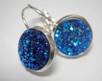 Sapphire Blue Faux Druzy Earrings - Choice of Studs or Lever Back Earrings - 12mm Druzy Earrings - Silver or Stainless Steel