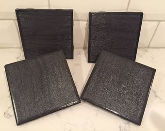 Coasters Black Grey Leather Set of 4