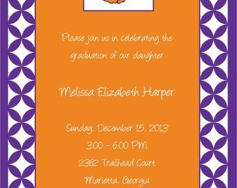 Set of 10 Orange and Purple, Clemson Invitations and Envelopes