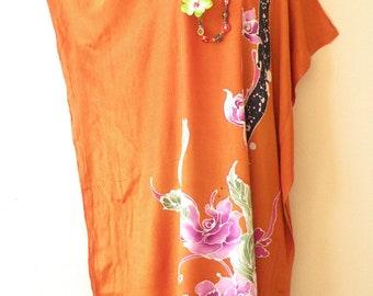 Sun Rhapsody Batik Dolman Batwing Sheen Caftan Kaftan Tunic Hippy Maxi Dress - XL, 1X, 2X & 3X