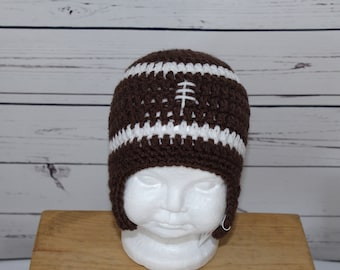 Baby Football Hat with Earflaps - Size 6-12 months