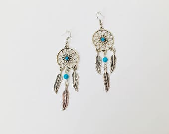 Dream Catcher Earrings, Silver Dream Catcher Earrings,Dangle Dream Catcher Earrings,Feather Earrings,Boho Earrings,Dream Catcher Drop Boho