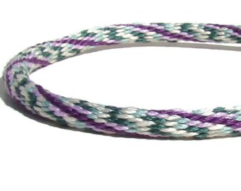 Purple and mint green friendship kumihimo bracelet with or without purchased magnetic clasp-- your choice