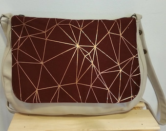 Beige and red leather Messenger bag