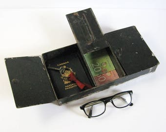 Vintage Black Metal Storage Box - Metal Cash Box - Safety Deposit Box - Office Organizer - Secret Stash Box - Industrial Decor Display Prop