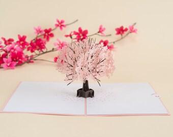 Cherry Blossom Tree Pop Up Card, Springtime Pop Up Card, Mother's Day Card, Japanese Cherry Blossom, Sakura Tree, Spring in Bloom