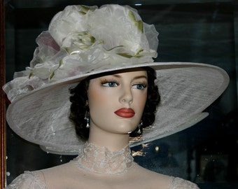 Kentucky Derby Hat, Royal Ascot Hat, Edwardian Tea Hat, Titanic Hat, Somewhere Time Hat, Downton Abbey Hat, Wedding Hat - Kentucky Morning