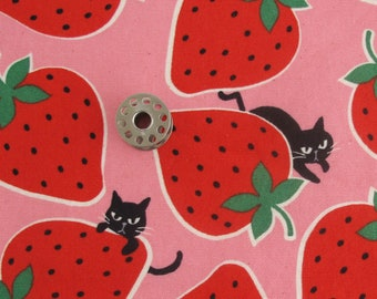 REMNANTs Cats and Strawberries Japanese Fabric | Kokka cotton oxford fabric piece.