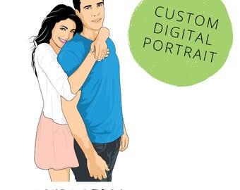 Custom couple portrait Family portrait Couples portrait Giftforcouple Anniversaryportrait Couple portrait Family illustration Avatar Potrait