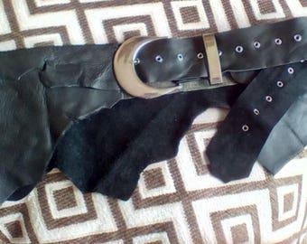 Black leather natural edge hip belt