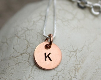 Custom Hand Stamped Necklace with Copper Tag
