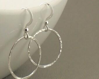 Hammered Hoop Sterling Silver Earrings, Modern Simple Drop Earrings, Handmade Sterling Silver Jewellery