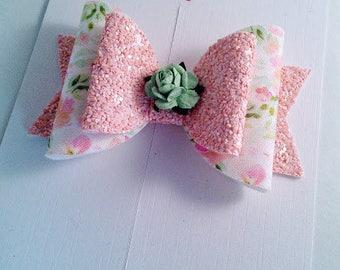 Peach hair bow, Spring floral bow, Spring wedding hair, Girls hair clip, Hair accessories, Pretty hair bow, Baby headband