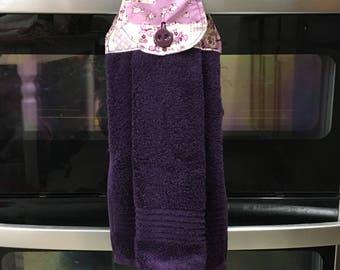 Purple Print Hanging Dish Towel