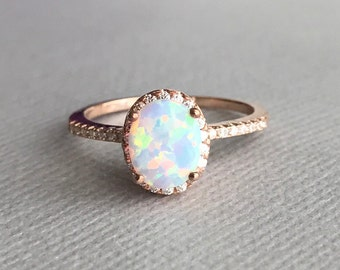 Oval White Fire Opal Simulated Diamond Stones Rose Gold Sterling Silver Engagement Promise Ring, Women's White Opal Ring