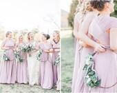 Swan Lake Heather Satin Long Octopus Convertible Wrap Gown- Bridesmaids, Wedding, Maternity