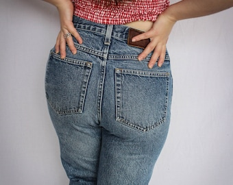 Vintage Diamond Gusset High Waisted Jeans | 80s Jeans | Boot Cut