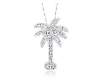 Rhodium plated Sterling Silver Palm Tree Pendant