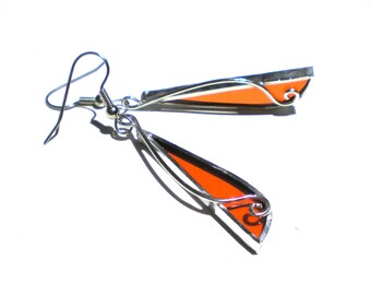 Orange Slice - Stained Glass Earrings - Long Womens Accessories Wire Metalwork Lightweight Jewelry Nickel-Free Hooks (READY TO SHIP)