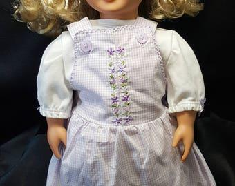 "18"" Doll Clothing Set. Embroidered Jumper, Tee Shirt, Skirt, Shorts, Hat, Headband and Bag"