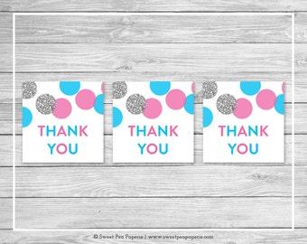 Pink and Blue Gender Reveal Favor Thank You Tags - Printable Gender Reveal Thank You Tags - Pink Blue Silver Gender Reveal - SP113