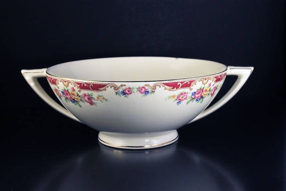 Vegetable Bowl, Knowles, Lido Pattern, Yellow & Pink Sprays, Serving Bowl, Display Bowl, Centerpiece
