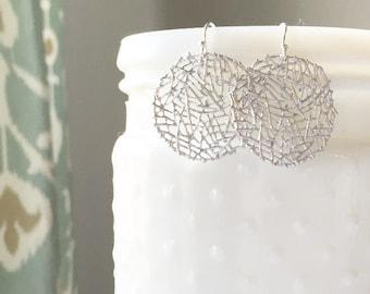 WREN | Simple Silver Round Nest Earrings | Minimal Earrings Mesh Earrings Round Silver Earrings Twig Earrings