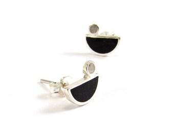 Sterling Silver Earrings, Little Birds, Black and White, Ear Studs, Modern, Contemporary