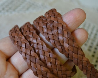 1 Meter 10mm Flat Braided Leather Cord Light Brown 5 Strands