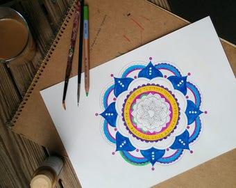 Shabbat Shalom Mandala-Inspirational Prayer Lighting Candles-Coloring page Printable-DIY Arts Crafts-Jewish Art projects-INSTANT DOWNLOAD