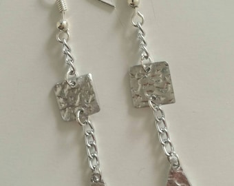 Hammered Aluminum Unique Rectangle Triangle Earrings Silver Plated Hooks