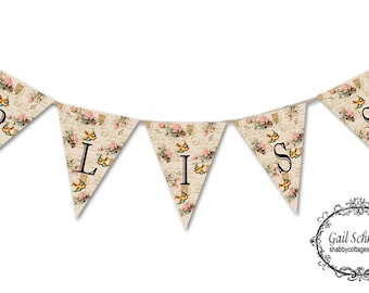 Bliss Roses and Birds Banner DIGITAL DOWNLOAD   Bunting Garland Shabby Chic CottageLook