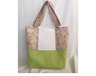 Floral handbag cross-stitch - green cotton linen - canvas aida 5.5 crosses/cm